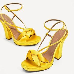 Zara Yellow Satin Ankle Strap Heels